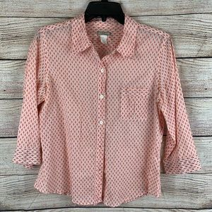J. Crew Orange Patterned 3/4 Sleeve Blouse Size L